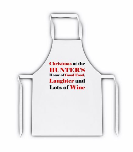 Personalised Christmas At The (Any Name) Home of Good Food White Adult Apron